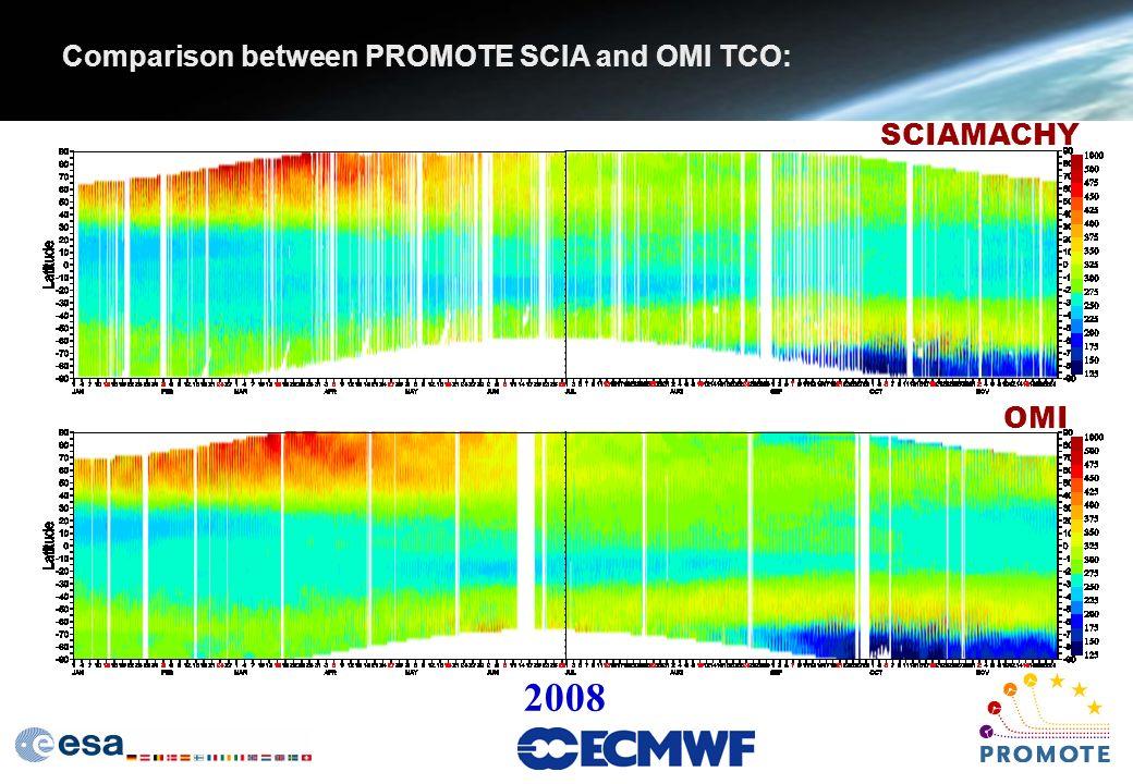 Comparison between PROMOTE SCIA and OMI TCO: SCIAMACHY OMI 2008