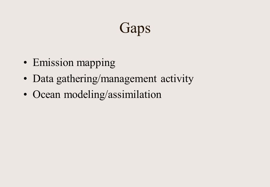 Gaps Emission mapping Data gathering/management activity Ocean modeling/assimilation