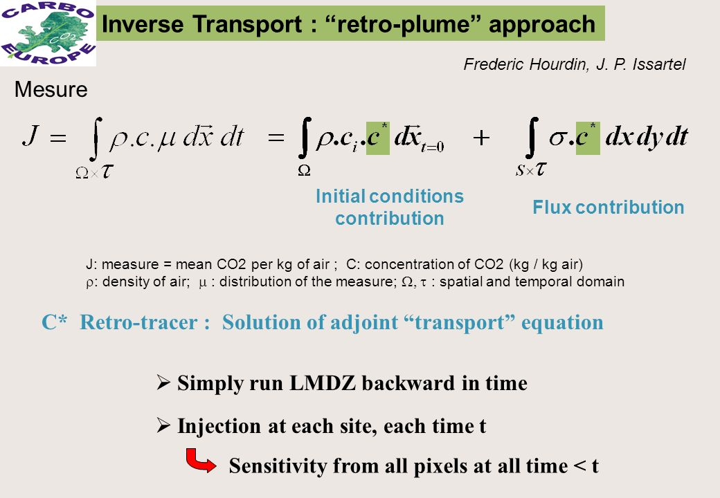 Mesure Inverse Transport : retro-plume approach Frederic Hourdin, J. P. Issartel J: measure = mean CO2 per kg of air ; C: concentration of CO2 (kg / k