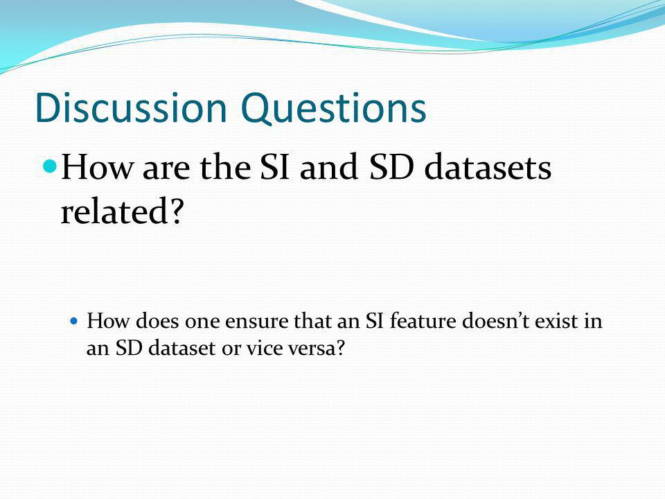 Discussion Questions How are the SI and SD datasets related.