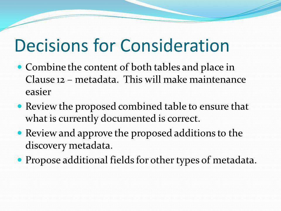 Decisions for Consideration Combine the content of both tables and place in Clause 12 – metadata. This will make maintenance easier Review the propose