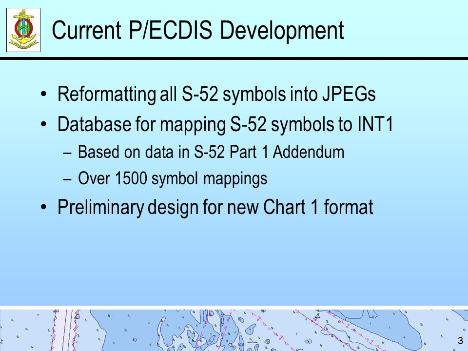Actions for DIPWG Endorse the work done by the United States Review and comment on the prototype P/ECDIS Chart 1 format Review and comment on the accuracy of the S-52 to INT 1 symbol mapping Make recommendations for any additional narrative sections in the P/ECDIS Chart 1 (Sharing any training materials already covering these topics would not be not be turned away) 14