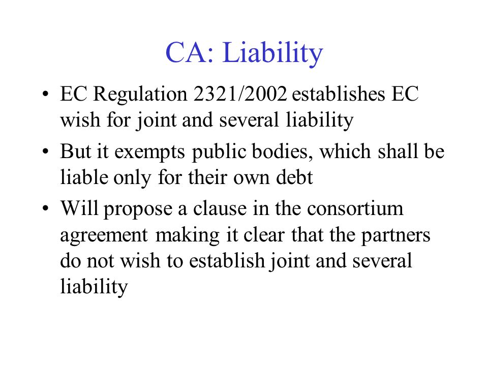 CA: Liability EC Regulation 2321/2002 establishes EC wish for joint and several liability But it exempts public bodies, which shall be liable only for their own debt Will propose a clause in the consortium agreement making it clear that the partners do not wish to establish joint and several liability