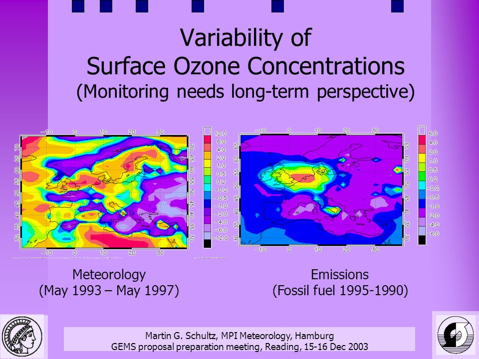 Martin G. Schultz, MPI Meteorology, Hamburg GEMS proposal preparation meeting, Reading, 15-16 Dec 2003 Variability of Surface Ozone Concentrations (Mo