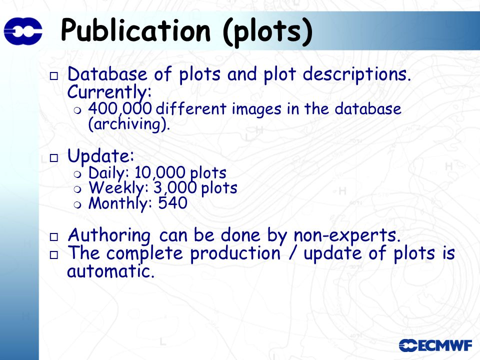 Publication (plots) o Database of plots and plot descriptions.