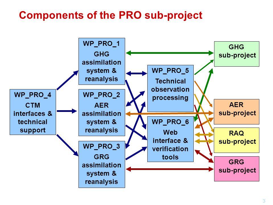 3 Components of the PRO sub-project WP_PRO_2 AER assimilation system & reanalysis WP_PRO_3 GRG assimilation system & reanalysis WP_PRO_1 GHG assimilat