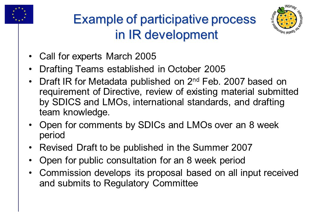 36 Example of participative process in IR development Call for experts March 2005 Drafting Teams established in October 2005 Draft IR for Metadata published on 2 nd Feb.
