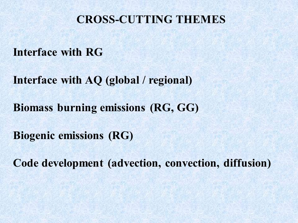 CROSS-CUTTING THEMES Interface with RG Interface with AQ (global / regional) Biomass burning emissions (RG, GG) Biogenic emissions (RG) Code development (advection, convection, diffusion)