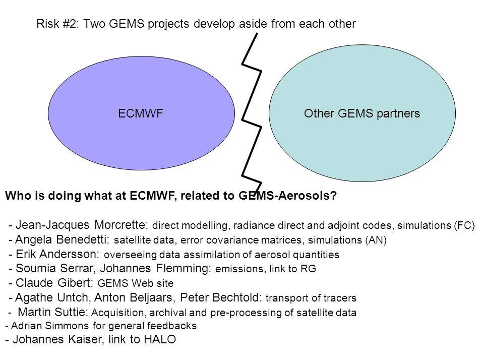 Risk #2: Two GEMS projects develop aside from each other ECMWF Other GEMS partners Who is doing what at ECMWF, related to GEMS-Aerosols? - Jean-Jacque
