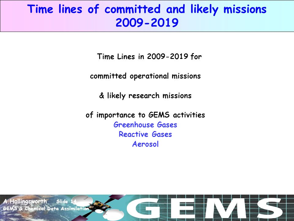 A.Hollingsworth Slide 14 GEMS & Chemical Data Assimilation Time lines of committed and likely missions 2009-2019 Time Lines in 2009-2019 for committed operational missions & likely research missions of importance to GEMS activities Greenhouse Gases Reactive Gases Aerosol