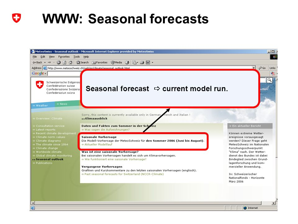 12 Extended range forecasts at MeteoSwiss – user experience and probabilistic verification ECMWF Forecast Products User Meeting, ECMWF, Reading, UK, 14-16 June 2006 Andreas Weigel Seasonal forecast current model run.
