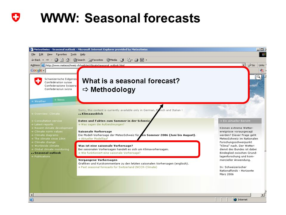 14 Extended range forecasts at MeteoSwiss – user experience and probabilistic verification ECMWF Forecast Products User Meeting, ECMWF, Reading, UK, 14-16 June 2006 Andreas Weigel What is a seasonal forecast.