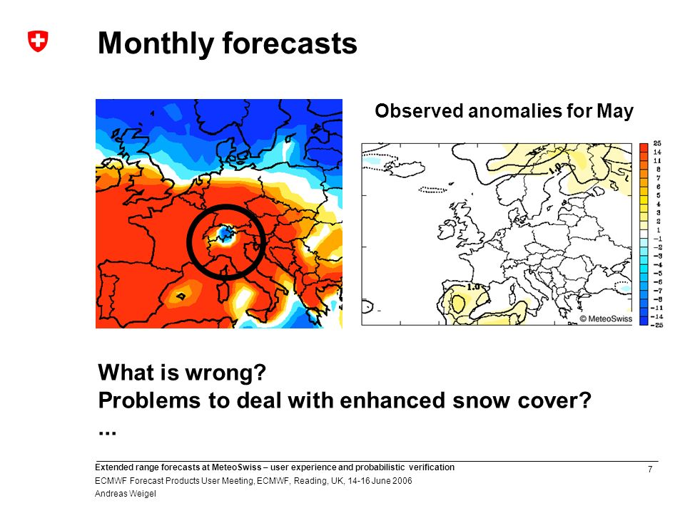 7 Extended range forecasts at MeteoSwiss – user experience and probabilistic verification ECMWF Forecast Products User Meeting, ECMWF, Reading, UK, June 2006 Andreas Weigel Monthly forecasts Observed anomalies for May What is wrong.