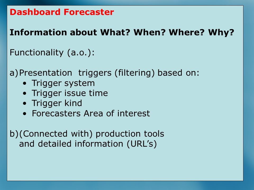24 Trigger Database Dashboard Forecaster Information about What.