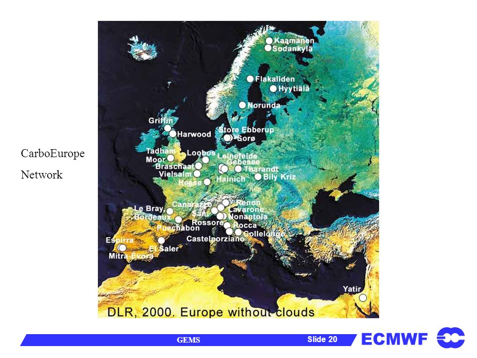 ECMWF GEMS Slide 20 CarboEurope Network