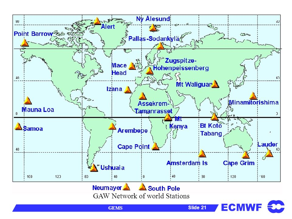 ECMWF GEMS Slide 21 GAW Network of world Stations