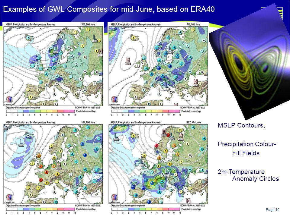 Page 10© Crown copyright 2004 Examples of GWL-Composites for mid-June, based on ERA40 MSLP Contours, Precipitation Colour- Fill Fields 2m-Temperature Anomaly Circles