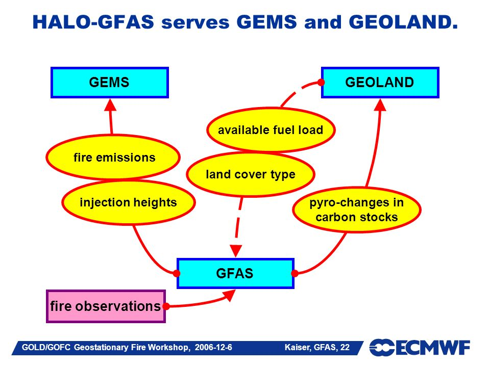 GOLD/GOFC Geostationary Fire Workshop, Kaiser, GFAS, 22 HALO-GFAS serves GEMS and GEOLAND.