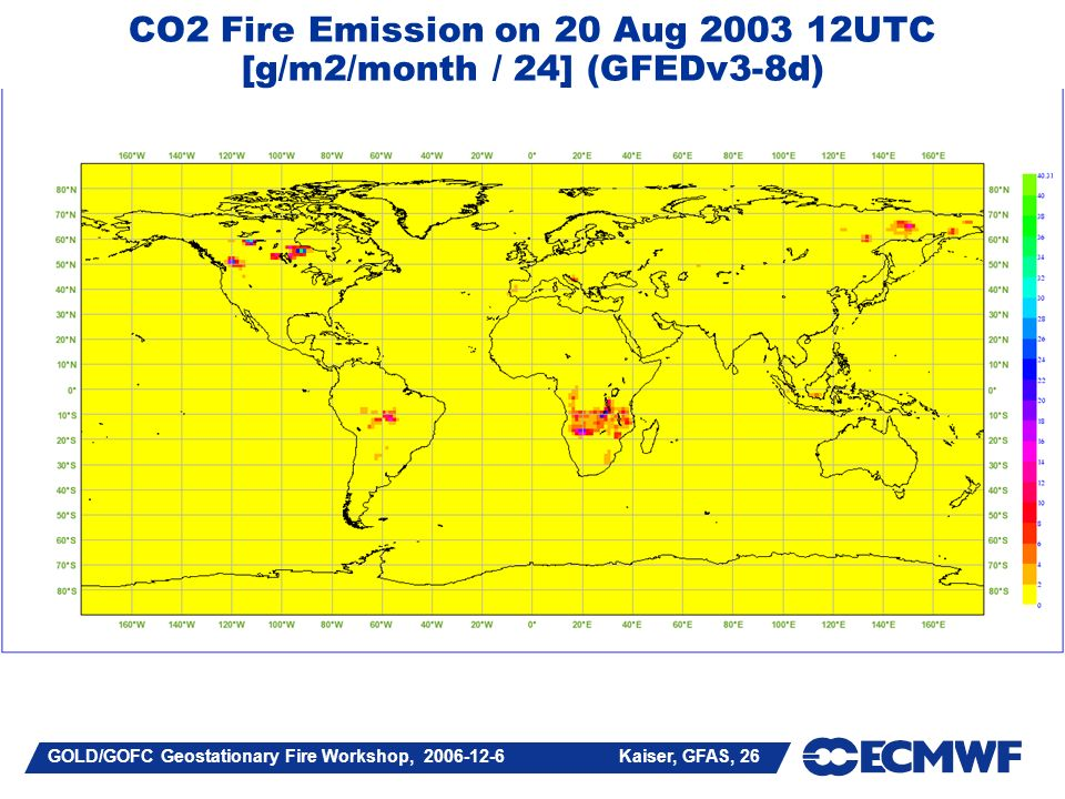 GOLD/GOFC Geostationary Fire Workshop, 2006-12-6 Kaiser, GFAS, 26 CO2 Fire Emission on 20 Aug 2003 12UTC [g/m2/month / 24] (GFEDv3-8d)