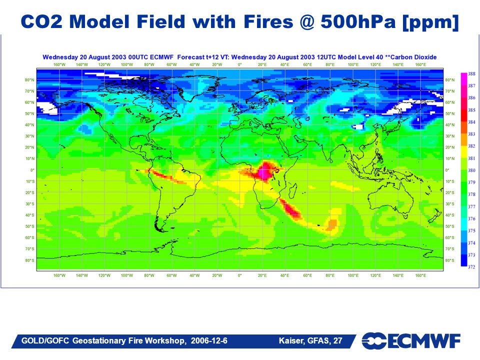 GOLD/GOFC Geostationary Fire Workshop, Kaiser, GFAS, 27 CO2 Model Field with 500hPa [ppm]