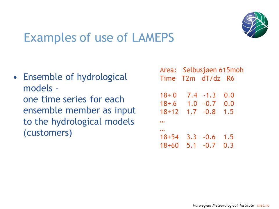 Norwegian Meteorological Institute met.no Examples of use of LAMEPS Area: Selbusjøen 615moh Time T2m dT/dz R6 18+ 0 7.4 -1.3 0.0 18+ 6 1.0 -0.7 0.0 18+12 1.7 -0.8 1.5 … 18+54 3.3 -0.6 1.5 18+60 5.1 -0.7 0.3 Ensemble of hydrological models – one time series for each ensemble member as input to the hydrological models (customers)