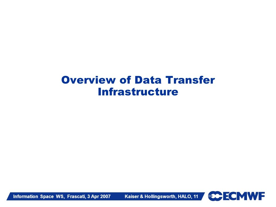 Information Space WS, Frascati, 3 Apr 2007 Kaiser & Hollingsworth, HALO, 11 Overview of Data Transfer Infrastructure