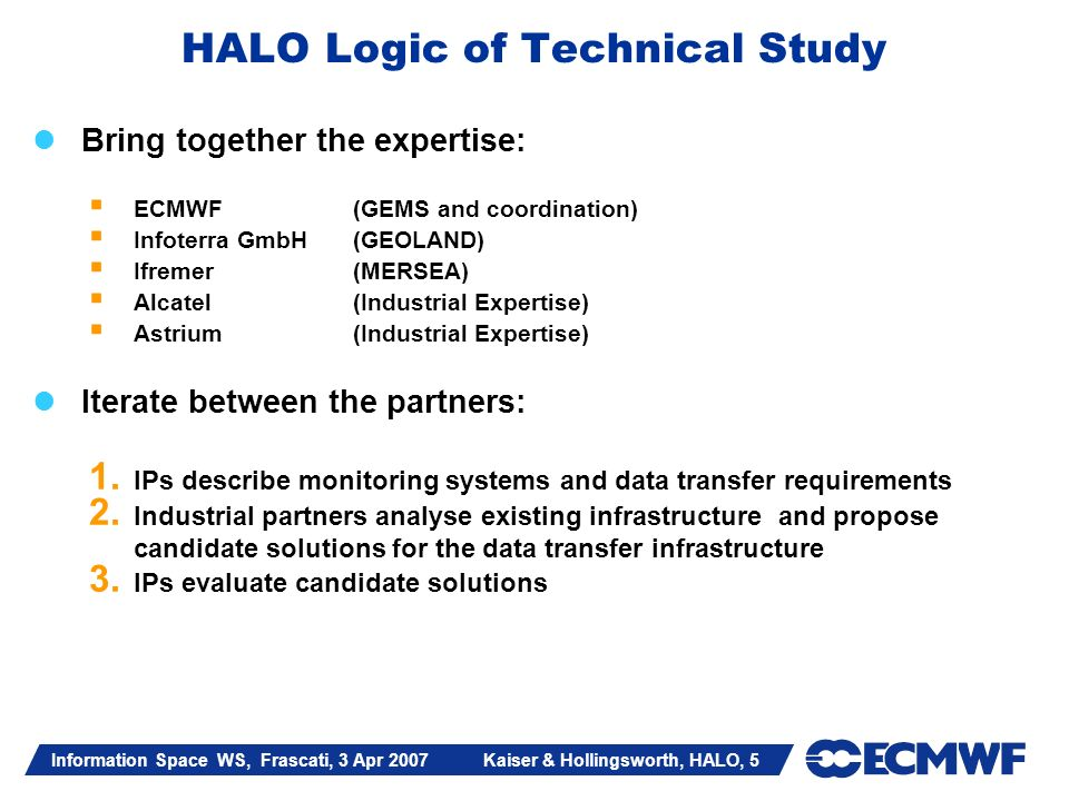 Information Space WS, Frascati, 3 Apr 2007 Kaiser & Hollingsworth, HALO, 5 HALO Logic of Technical Study Bring together the expertise: ECMWF (GEMS and coordination) Infoterra GmbH (GEOLAND) Ifremer (MERSEA) Alcatel(Industrial Expertise) Astrium(Industrial Expertise) Iterate between the partners: 1.