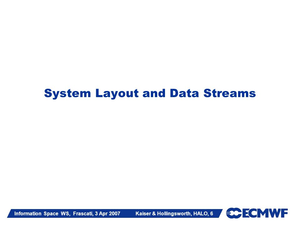 Information Space WS, Frascati, 3 Apr 2007 Kaiser & Hollingsworth, HALO, 6 System Layout and Data Streams