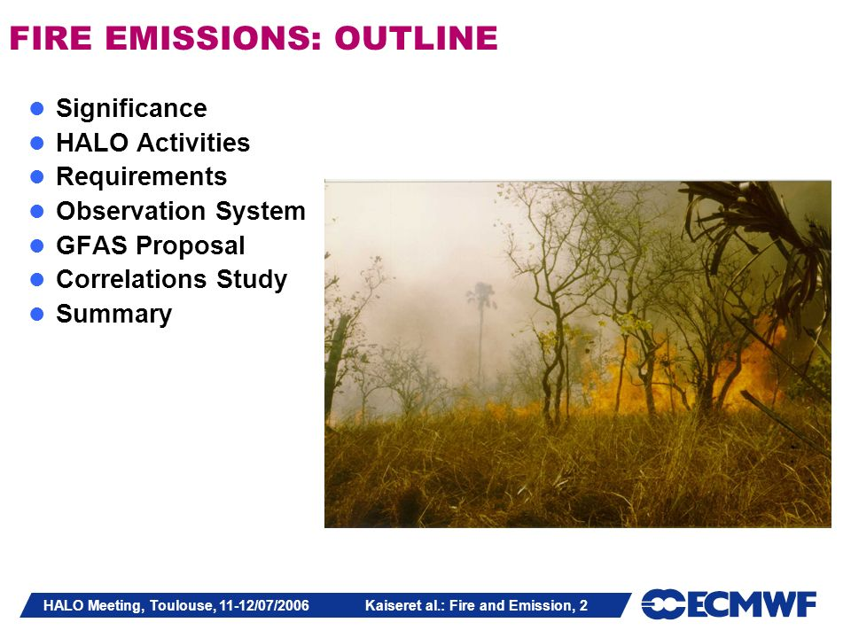 HALO Meeting, Toulouse, 11-12/07/2006 Kaiseret al.: Fire and Emission, 2 FIRE EMISSIONS: OUTLINE Significance HALO Activities Requirements Observation