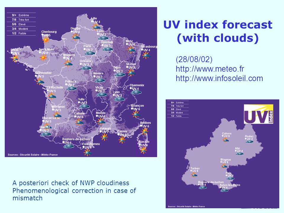 UV index forecast (with clouds) (28/08/02)     A posteriori check of NWP cloudiness Phenomenological correction in case of mismatch