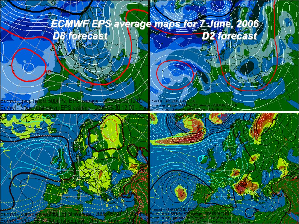 ECMWF EPS average maps for 7 June, 2006 D8 forecastD2 forecast