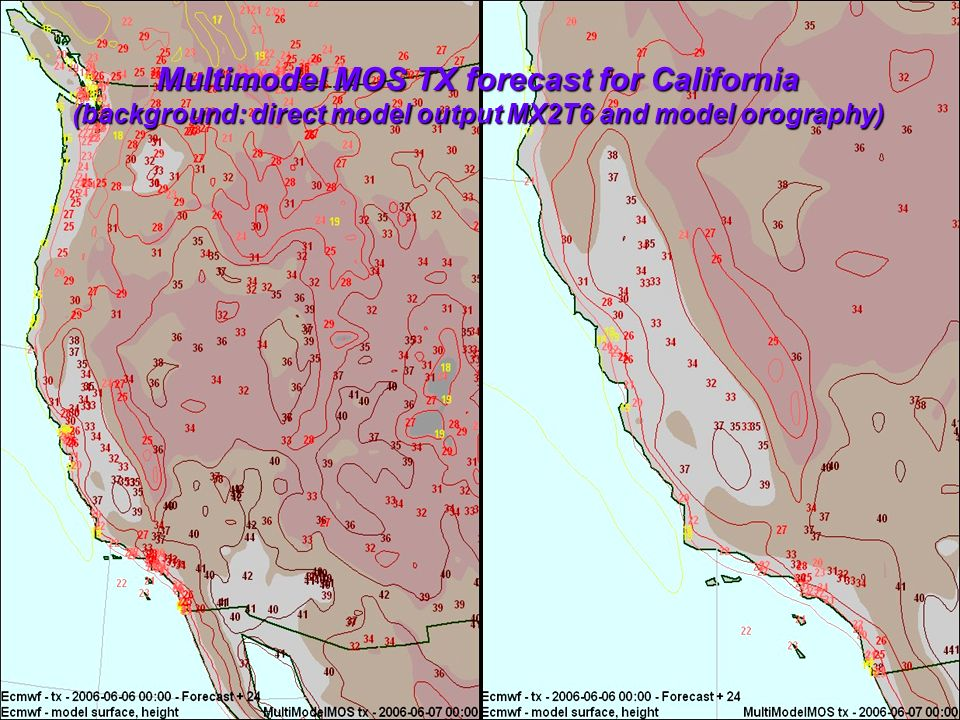 Multimodel MOS TX forecast for California (background: direct model output MX2T6 and model orography)