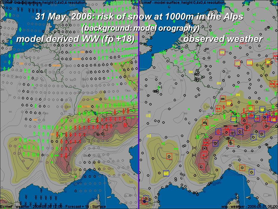 Risk of thunderstorms: model derived WW and SFUK observations Left: 17-05-2006 (fp +21) Right: 21-05-2006 (fp +18)