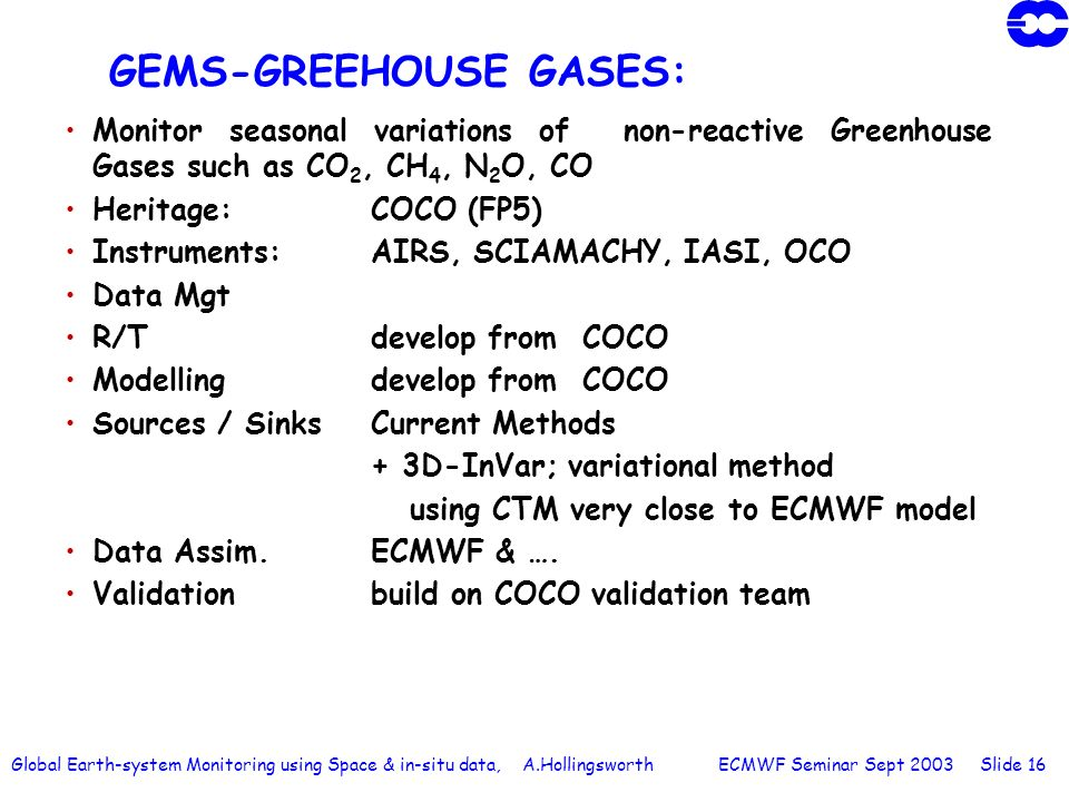 Global Earth-system Monitoring using Space & in-situ data, A.Hollingsworth ECMWF Seminar Sept 2003 Slide 16 GEMS-GREEHOUSE GASES: Monitor seasonal var