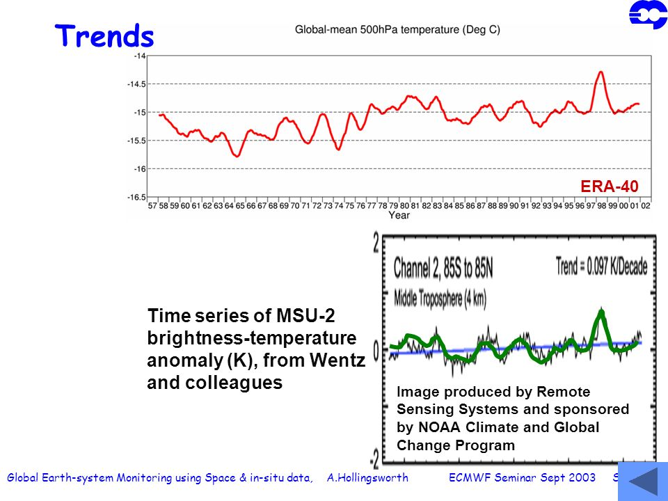Global Earth-system Monitoring using Space & in-situ data, A.Hollingsworth ECMWF Seminar Sept 2003 Slide 62 Trends Image produced by Remote Sensing Sy