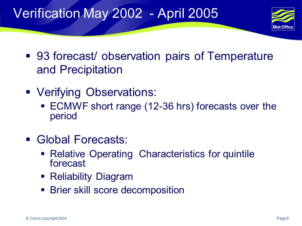 Page 20© Crown copyright 2004 Key Points Monthly Outlooks are a split process between ECMWF and Met Office The Monthly Outlook is operational Standardised Verification system is shaping up