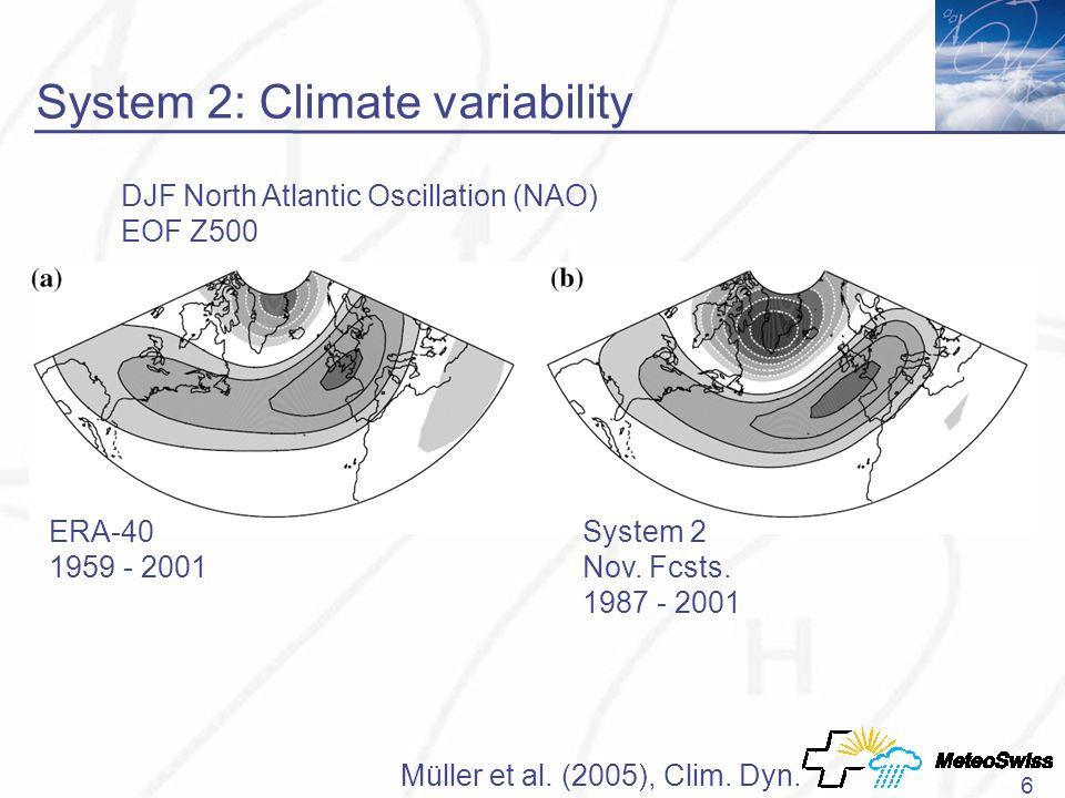 6 System 2: Climate variability ERA-40 1959 - 2001 System 2 Nov.