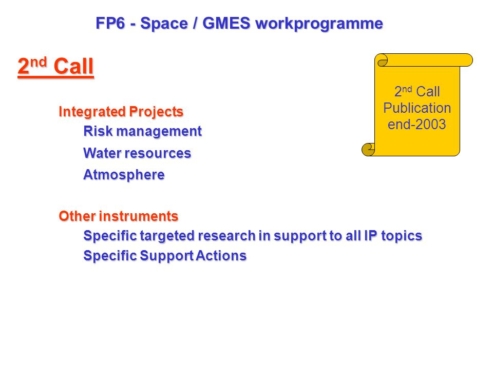 FP6 - Space / GMES workprogramme Integrated Projects Risk management Water resources Atmosphere Other instruments Specific targeted research in support to all IP topics Specific Support Actions 2 nd Call Publication end-2003