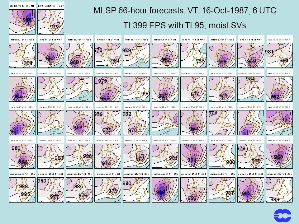 MLSP 66-hour forecasts, VT: 16-Oct-1987, 6 UTC TL399 EPS with TL95, moist SVs