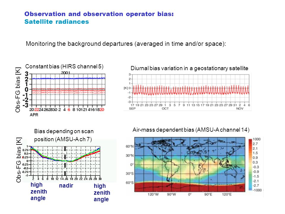 Observation and observation operator bias: Satellite radiances Diurnal bias variation in a geostationary satellite Air-mass dependent bias (AMSU-A cha