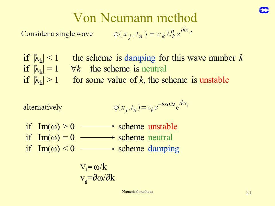 Numerical methods 21 Von Neumann method Consider a single wave if |λ k | < 1 the scheme is damping for this wave number k if |λ k | = 1 k the scheme i