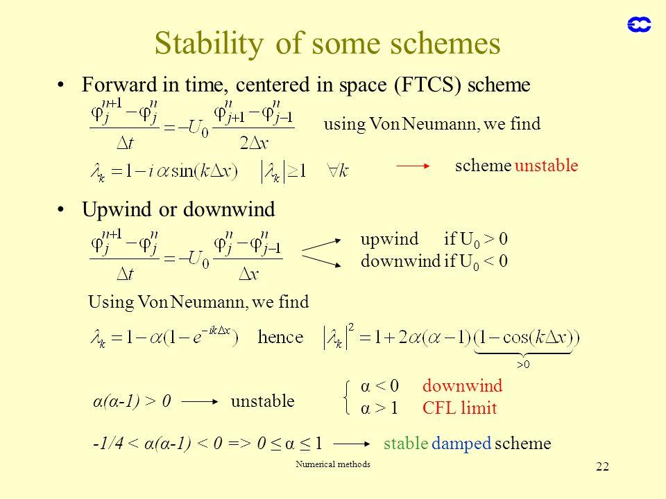 Numerical methods 22 Stability of some schemes Forward in time, centered in space (FTCS) scheme Upwind or downwind using Von Neumann, we find scheme u