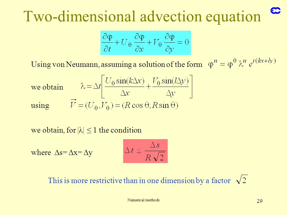 Numerical methods 29 Two-dimensional advection equation Using von Neumann, assuming a solution of the form we obtain using we obtain, for |λ| 1 the co