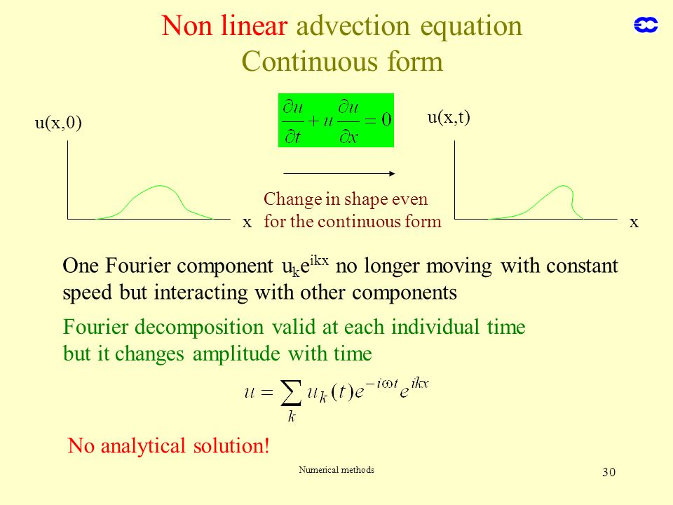 Numerical methods 30 x u(x,0) x u(x,t) Change in shape even for the continuous form One Fourier component u k e ikx no longer moving with constant spe