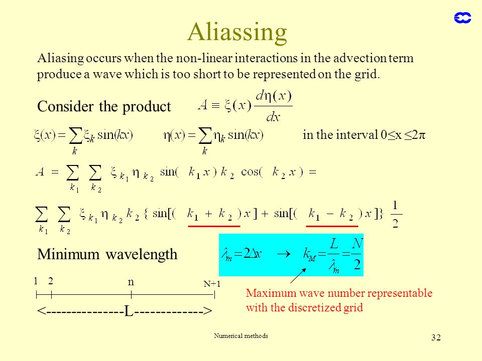 Numerical methods 32 Aliassing Consider the product in the interval 0x 2π Minimum wavelength 12 n N+1 Maximum wave number representable with the discr