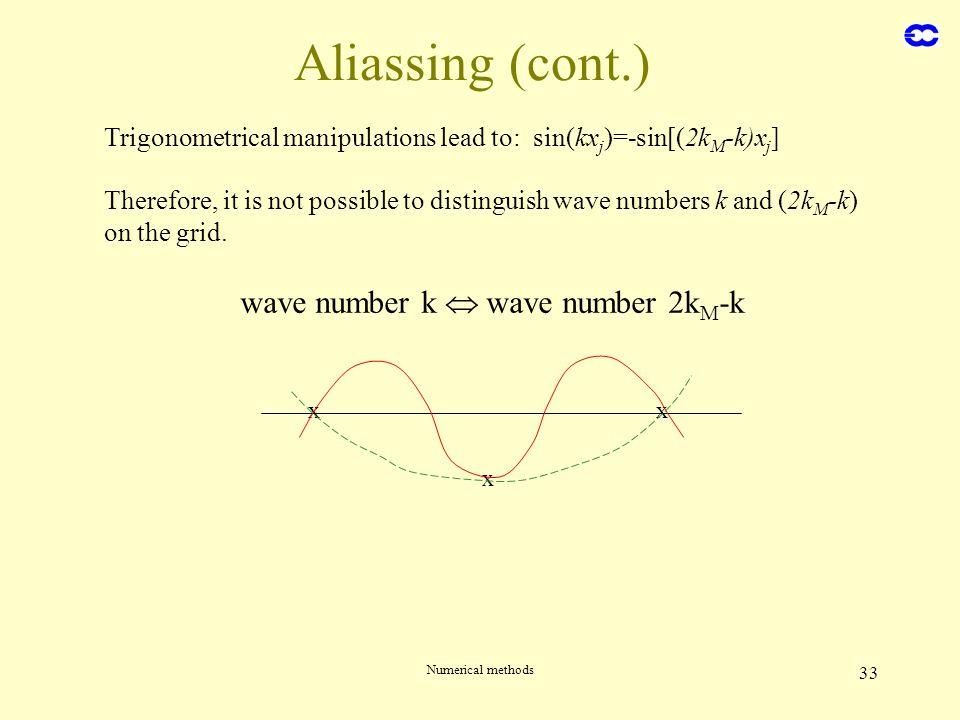 Numerical methods 33 Aliassing (cont.) Trigonometrical manipulations lead to: sin(kx j )=-sin[(2k M -k)x j ] wave number k wave number 2k M -k x x x T