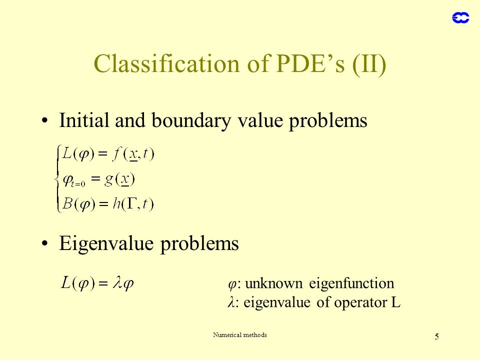 Numerical methods 5 Initial and boundary value problems Eigenvalue problems Classification of PDEs (II) φ: unknown eigenfunction λ: eigenvalue of oper
