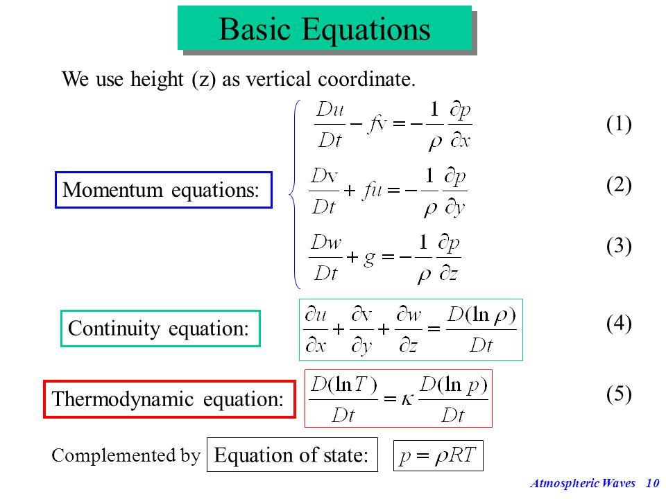 Atmospheric Waves9 Definition of basic wave properties (3) Horizontal phase velocity Vertical phase velocity Dispersive waves are waves with a phase v