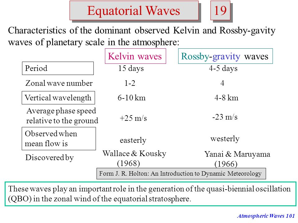 Atmospheric Waves100 Equatorial Waves 18 Structure of equatorial Kelvin waves: Plan view of horizontal velocity and height perturbations associated wi