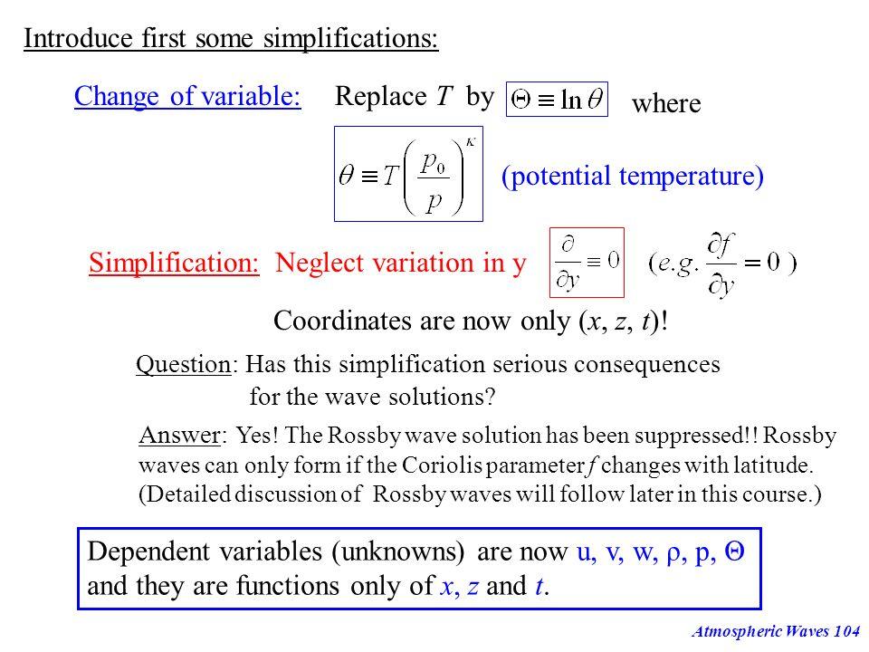 Atmospheric Waves103 H H H.A. ok! H.A. not ok! f f... L= L=20km L=10km L=5km Horizontal Wavelength [km] Horizontal Phase Speed [m/s] 10000100010010 10